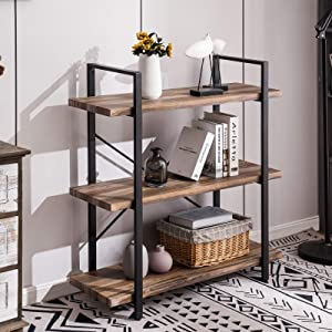 Apicizon 3-Tier Bookshelf with Industrial Shelves, Open Vintage Wood and Metal Bookcase, for Bedroom, Living Room, Kitchen(Grey Oak)