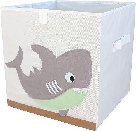miRio • Caja de almacenamiento para niños   Cajita de animales para la guardería Almacenamiento / organizador / cubos con motivos animales   pequeño plegable y de muy bajo olor   33x33x33cm (tiburón): Amazon.es: Bebé