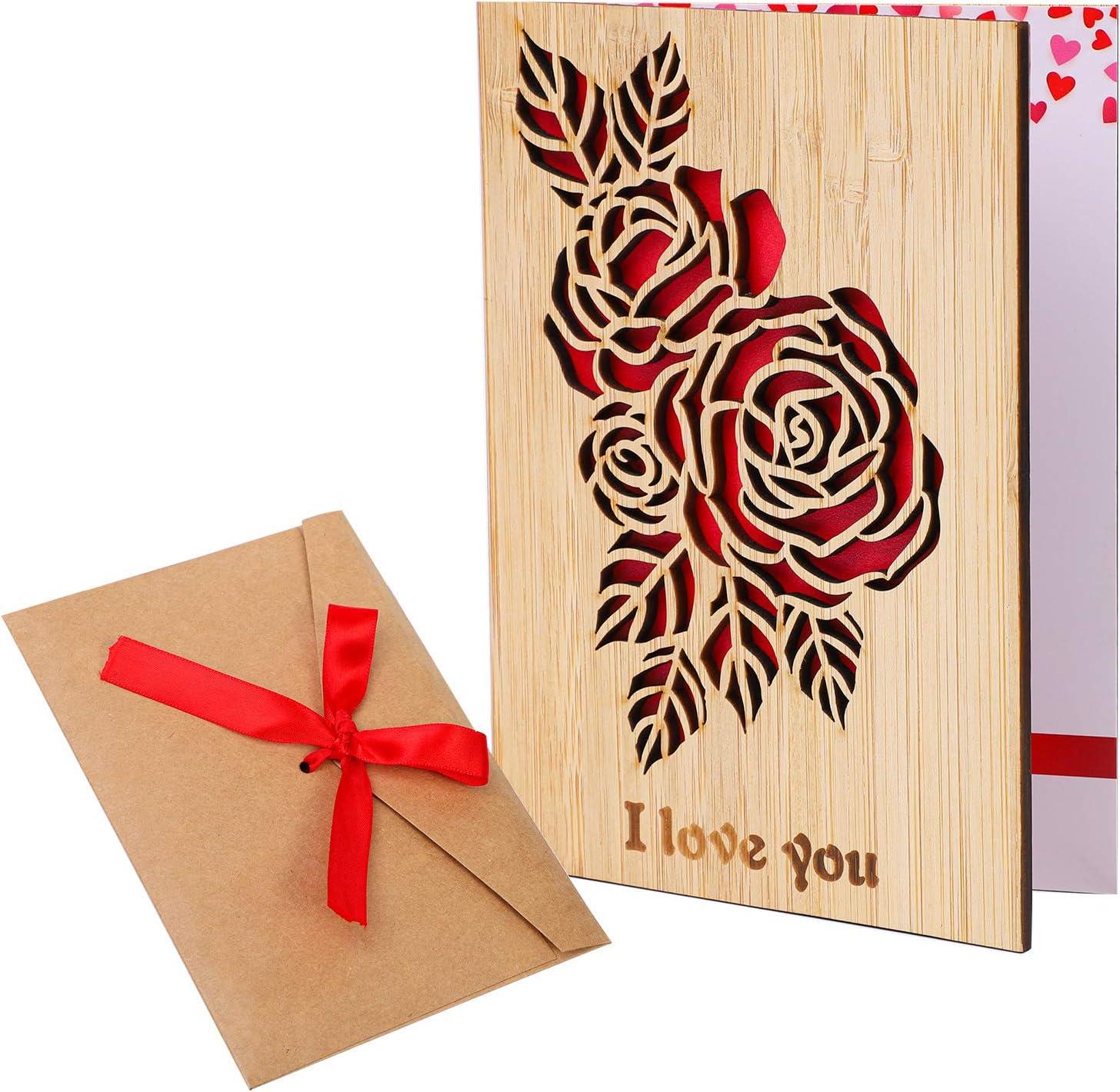 Cooraby - Tarjeta de felicitación de madera de bambú con sobre, idea de regalo, tarjeta de madera de bambú para el día de San Valentín, el día de la madre u otra ocasión