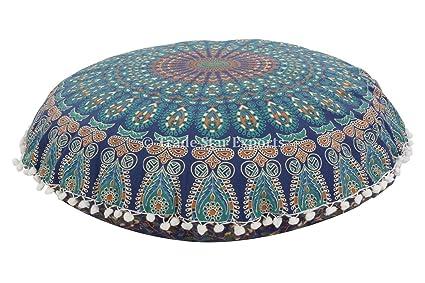 Buy Indian Mandala Floor Pillows Cushion Covers Bohemian Round ...
