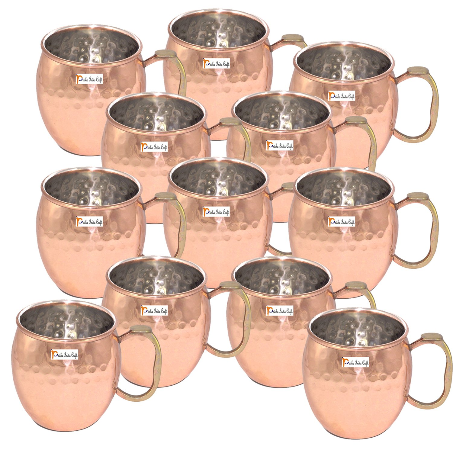 20-Ounce - Set of 12 - Prisha India Craft ® Copper Plating Stainless Steel Mule Mug Thumb Handle Premium Moscow Mule Copper Mug, Cocktail Cup, Copper Mugs, Cocktail Mugs – Christmas Gift Item