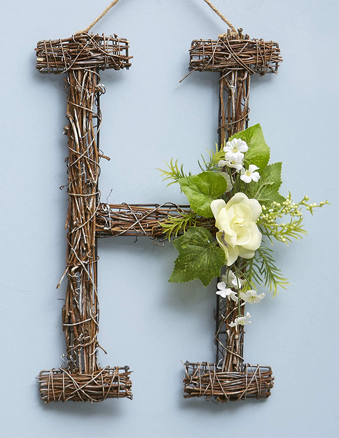 The Lakeside Collection Woven Rattan Monogram Door Hanger with Faux Floral Accents - H