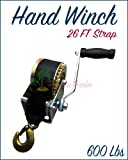 Paradise Harbor 600 Lbs Hand Winch 26 FT Strap Hand