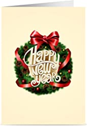 New Year Cards - One Jade Lane - Happy New Years Cards, 5x7, Heavy Stock, Set of 18 Holiday Cards & Envelopes.