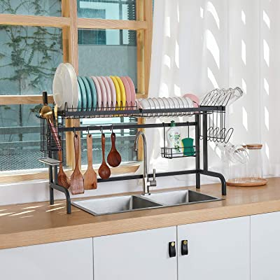 Buy X Cosrack Over The Sink Dish Drying Rack Above Sink Kitchen Drainer Rack For Kitchen Supplies Organizer Storage Space Saver Shelf With 5 Utility Hooks Adjustable Feet Sink Size 33 8 Inch Online In