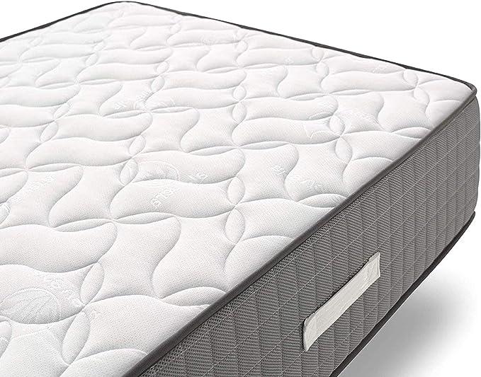 Hogar24 - Conjunto de descanso 135 x 180 cm - Colchón Bio Natur Fresh 30 + Somier Multiláminas Con Reguladores y Patas de Metal De 26 cm
