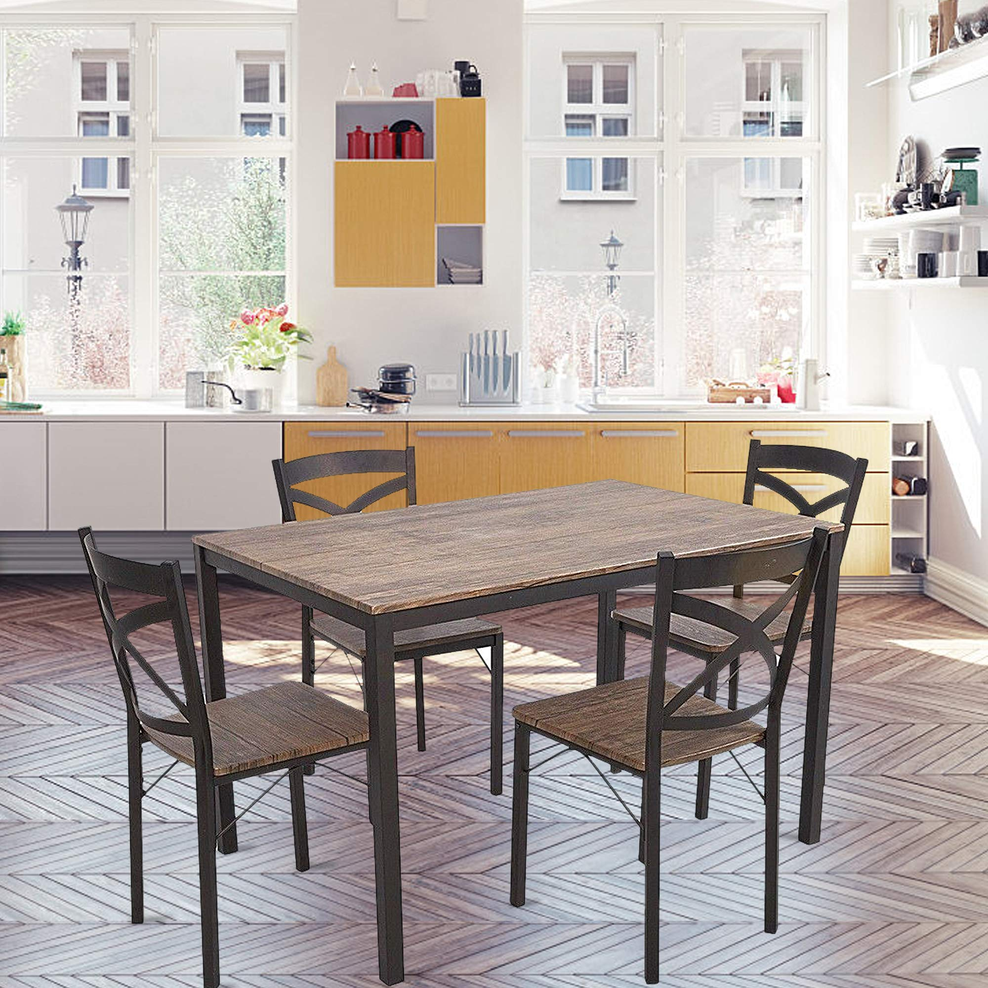 Dporticus 5-Piece Dining Set Industrial Style Wooden Kitchen Table and Chairs with Metal Legs- Espresso by Dporticus (Image #3)