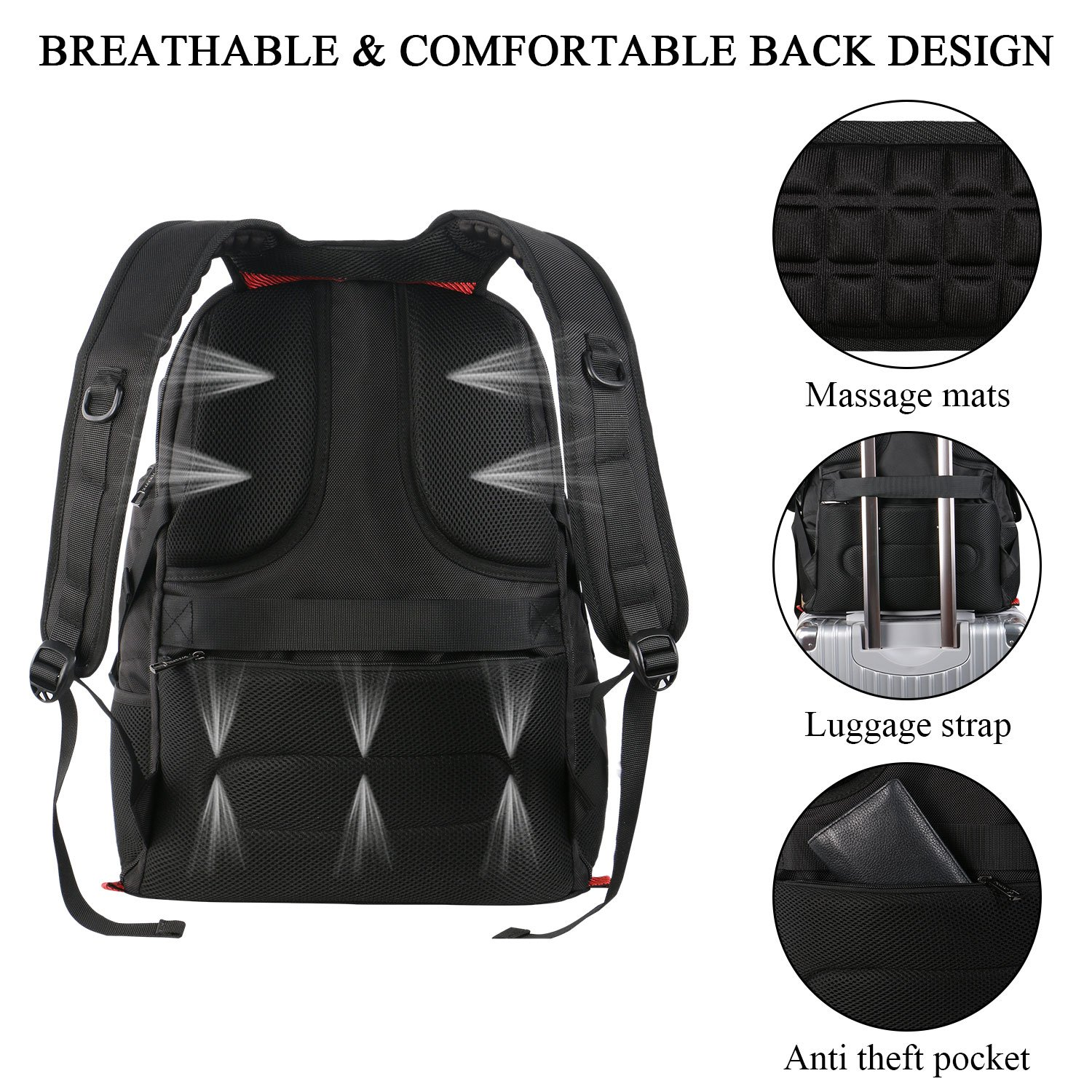 17 inch Laptop Backpack,Large Travel Backpack,TSA Friendly Durable Computer Bagpack with Luggage Sleeve for Men Women, Water Resistant Business College School Bag with USB Charger Port, Black by YOREPEK (Image #6)