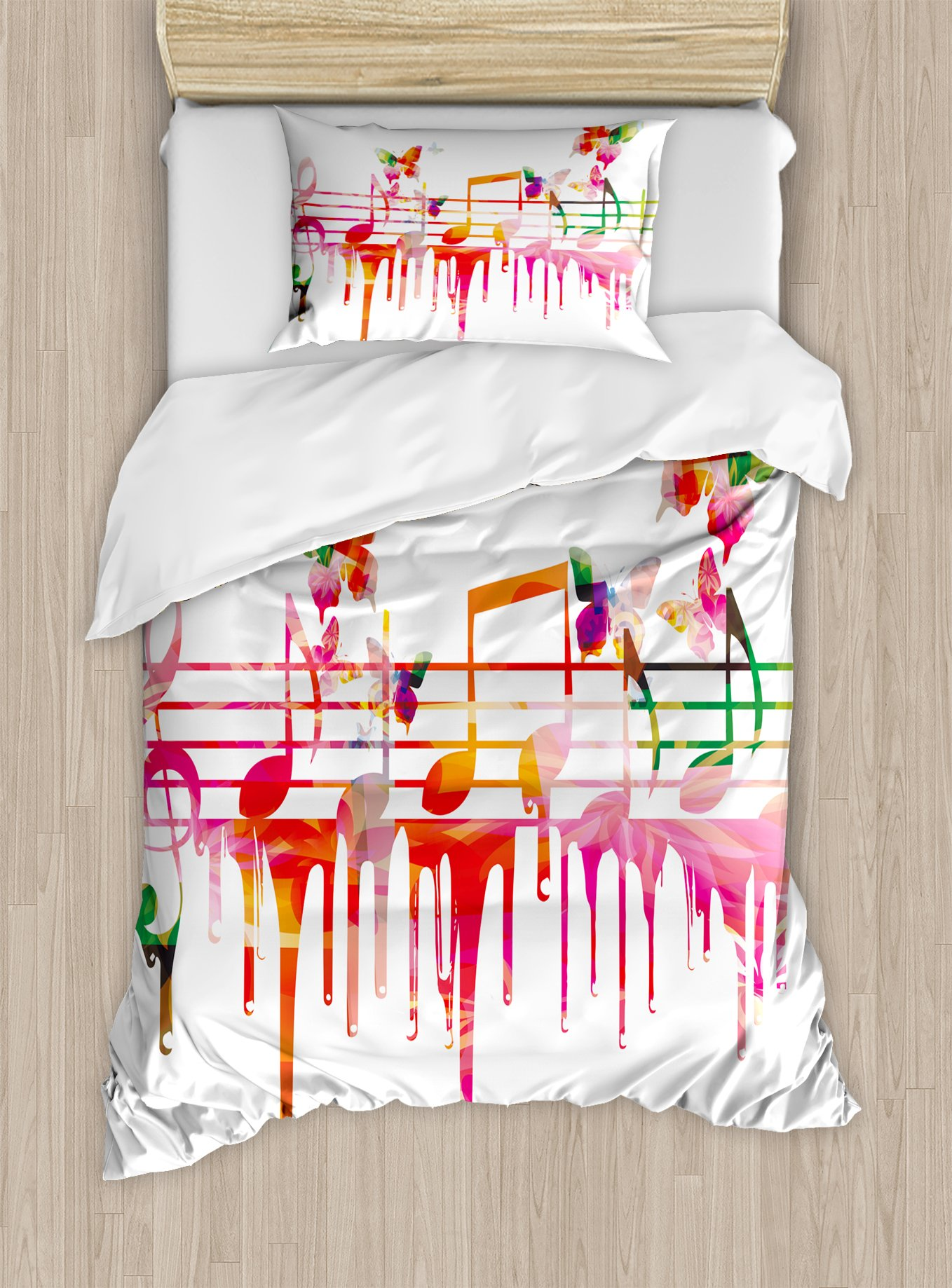 Music Decor Duvet Cover Set by Ambesonne, Colorful Artwork Music Notes Clef Composer Orchestra Decorative Classic, 2 Piece Bedding Set with 1 Pillow Sham, Twin / Twin XL Size