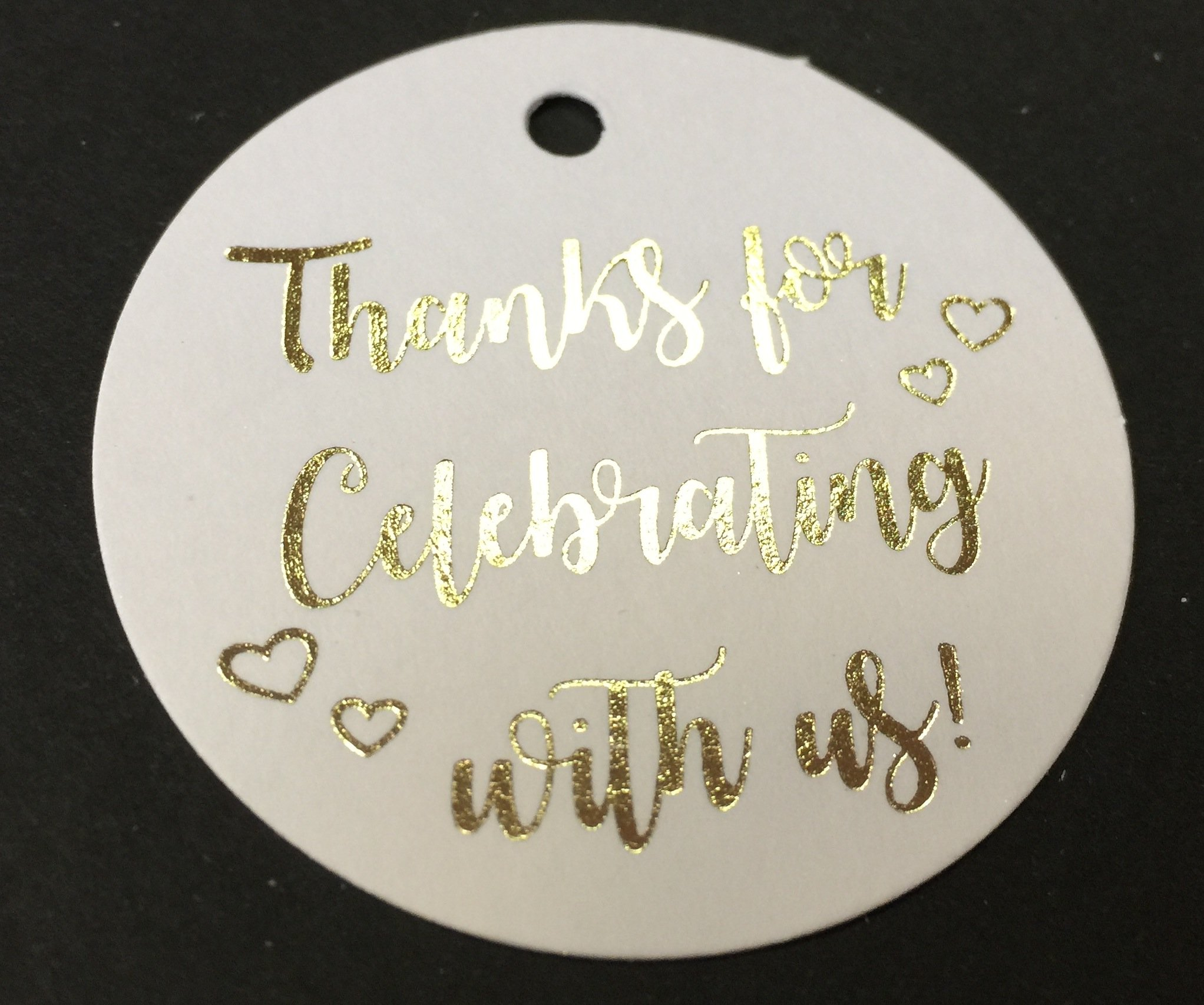 Thank You Tags Gold Foil - 25 pack - Thanks for Celebrating with us, Wedding Party Collection (Tags Round Circle 2)