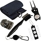 VIXYN Golf Accessories Gift Set - Golf Towel, Golf Club Brush with Groove Cleaner, Foldable Divot Repair Tool with Ball Marke