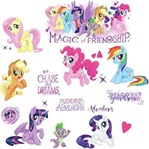 """RoomMates RMK3551SCS My Little Pony The Movie Peel & Stick Wall Decals with Glitter, Multicolor, 8"""""""