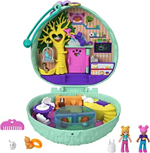 Polly Pocket Hedgehog Cafe Compact, Café & Pet Theme, Micro Polly Doll & Friend Doll, 2 Animal Figures (1 Cat with Tail Hair), Fun Features & Surprise Reveals, Great Gift for Ages 4 Years Old & Up