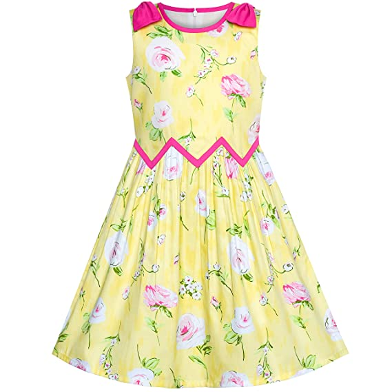 Sunny Fashion Vestido para niña Flamencos Lotus Print Ola Cintura ...
