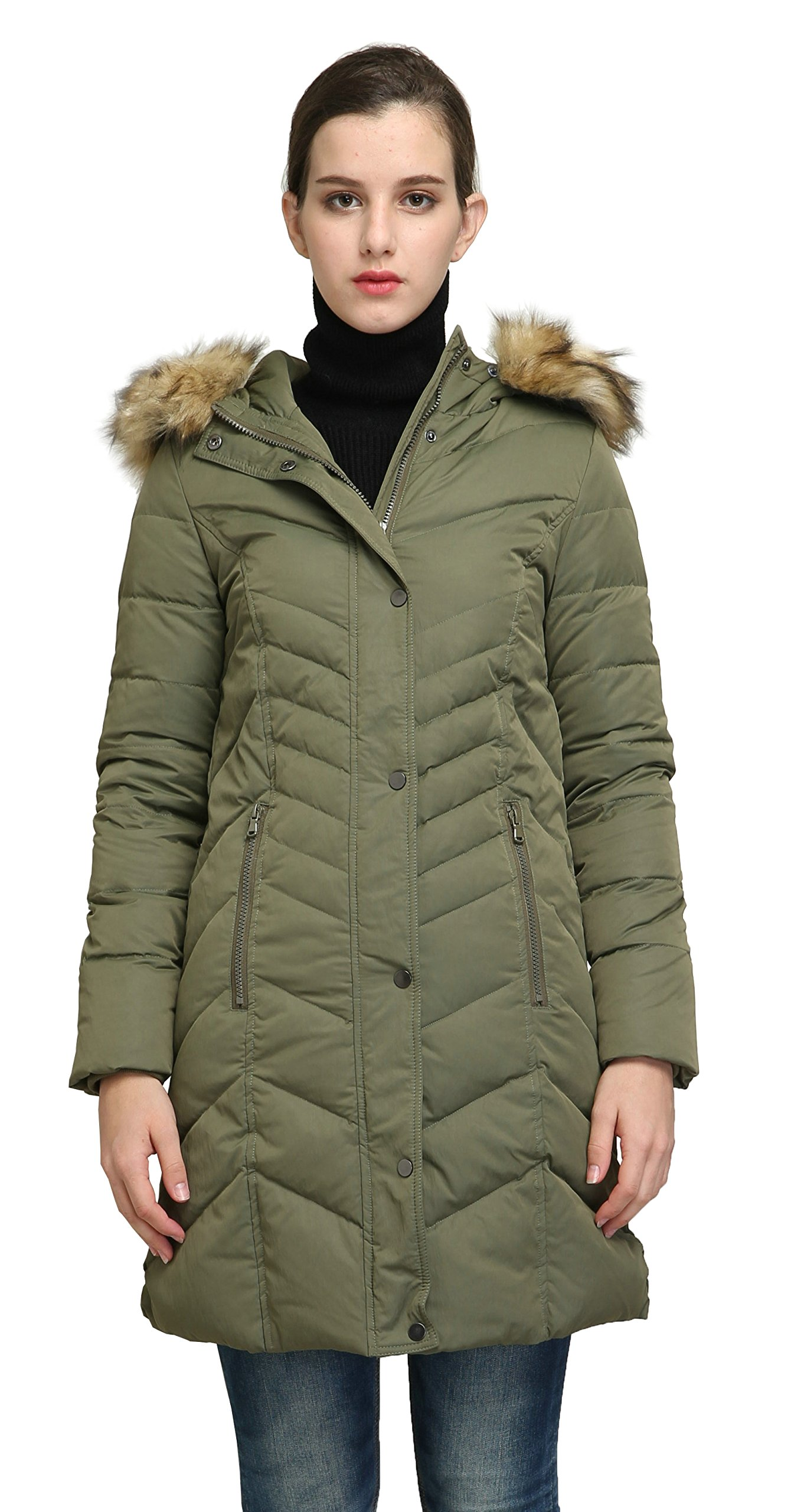 Orolay Women's Thickened Mid-Long Down Jacket with Hood ArmyGreen L