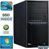 Captronic® (i5-6500-8GB-HD530-256GB SSD-Win7Pro) Windows 7 Professional 64bit | QuadCore Silent Multimedia Office PC Front USB 3.0 INTEL Core i5-6500 4x 3,20GHz (Turbo bis 3600MHz) 6. Generation Skylake | KINGSTON 8GB DDR4-2133 | 24x DVD-Brenner | 256GB SSD SATA3 | Intel HD 530 HDMI/DVI/VGA | USB 3.1 | USB 3.0 + 2.0 | USB-C | CardReader | 7.1 Sound | GigabitLAN | Design Gehäuse Schwarz