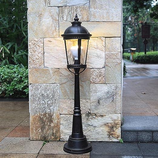 Modeen Lámpara de pie de iluminación de cristal europea al aire libre Jardín luces de jardín Lámpara de pie de calle de iluminación contemporánea Victoria aluminio resistente al agua: Amazon.es: Hogar