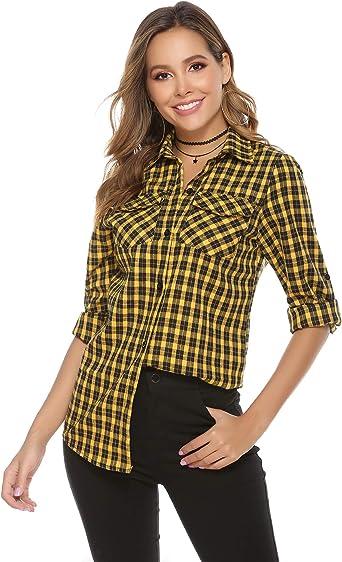 Aibrou Camisa de Cuadros para Mujer, Algodón Blusas Franela de Manga Larga Casual Clásica con Botones, Camisas a Cuadras para Primavera Otoño Invierno: Amazon.es: Ropa y accesorios