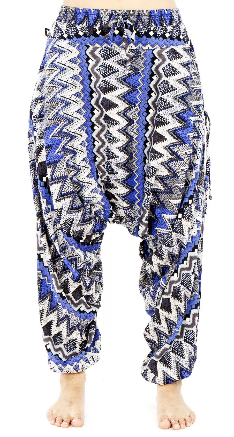 BUDDHA PANTS Premium Cotton Harem Pants Womens Blue Zags Pattern (X-SMALL, BLUE)