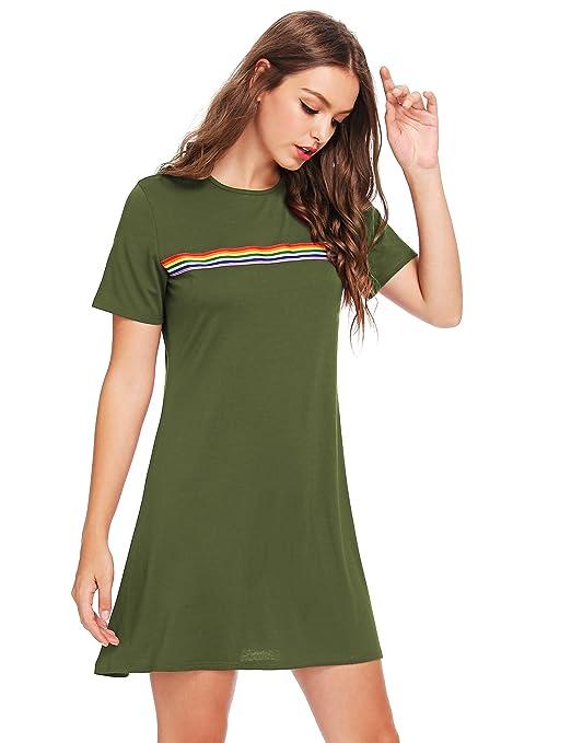 6c92697a006b Romwe Women's Comfy Swing Tunic Short Sleeve Contrast Striped T-Shirt Dress  Green S at Amazon Women's Clothing store: