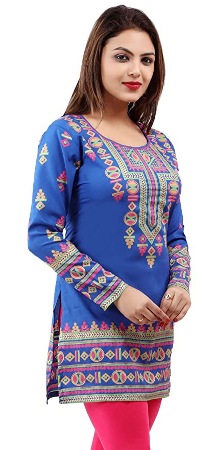 b380f2eb00 Amazon.com: Indian Tunic Top Womens Kurti Printed Blouse India Clothing:  Clothing