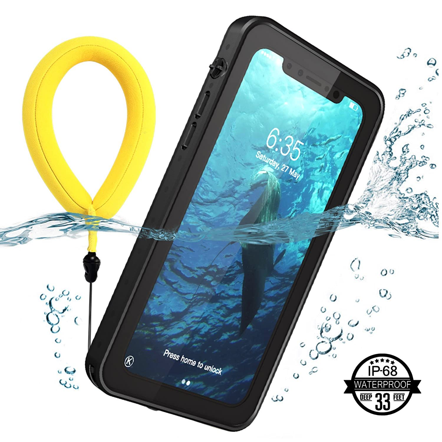 Temdan iPhone X Waterproof Case with Kickstand and ...