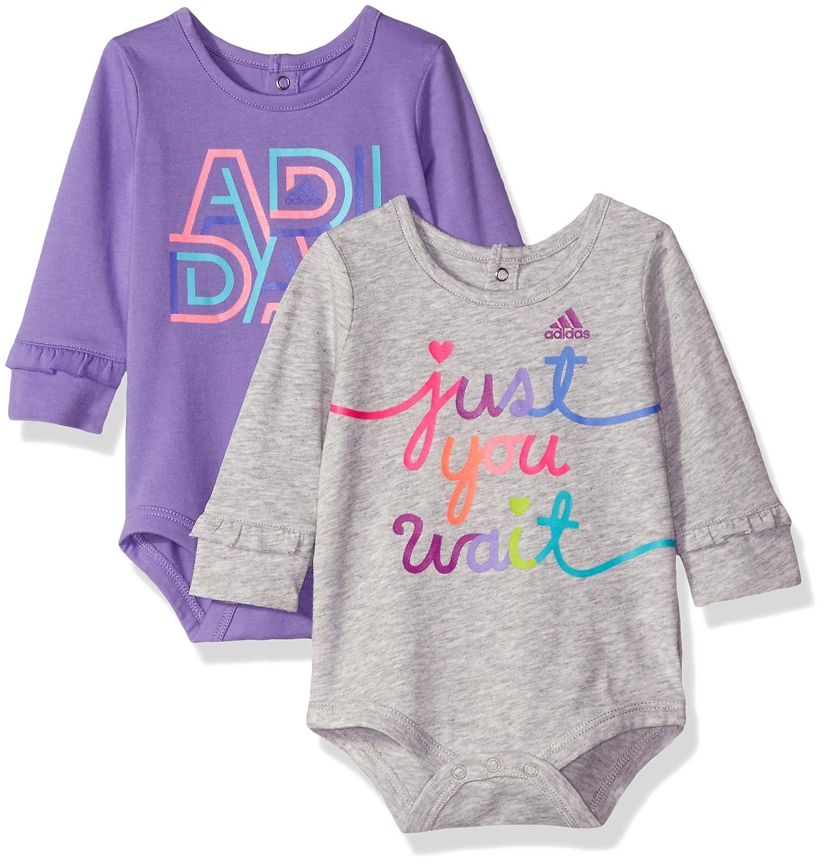 adidas Logo Baby Girls' Body Shirt Set 2 Pack, Violet/Gris, 18 Mois AA4369