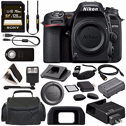Nikon D7500 DSLR Camera (Body Only) 1581 + Sony 128GB SDXC Card + Digital  Slave Flash + HDMI Cable + Carrying Case + Remote + Memory Card Wallet +
