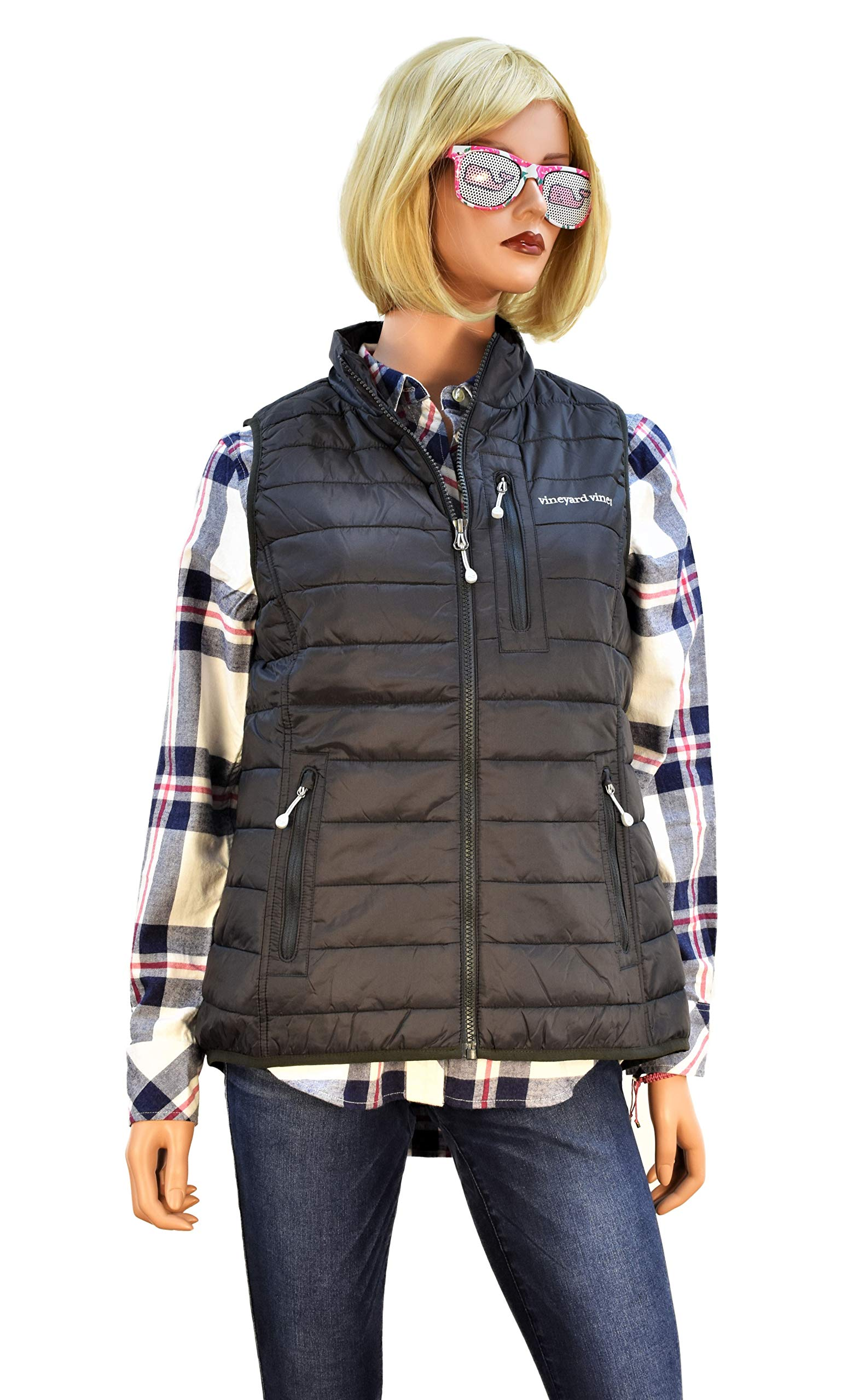 Vineyard Vines Women's Puffer Vest Rhododendron Pink (X-Small, Squall Gray)