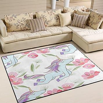 ALAZA Hipster Einhorn Flower Print Bereich Teppich Teppiche Matte Für  Wohnzimmer Schlafzimmer Fein 5u00273u0026quot