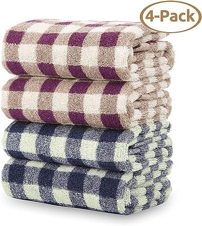 CITETOILE - Toalla de baño de algodón 100% con cuadros clásicos, toalla de baño superabsorbente y suave para familia, lote de 2, 75 x 35 cm: Amazon.es: Hogar