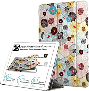 DuraSafe Cases for iPad Air 1st Gen 2013-9.7 Slimline Series Lightweight Protective Cover with Dual Angle Stand & Clear PC Back Shell - Yarn Flowers
