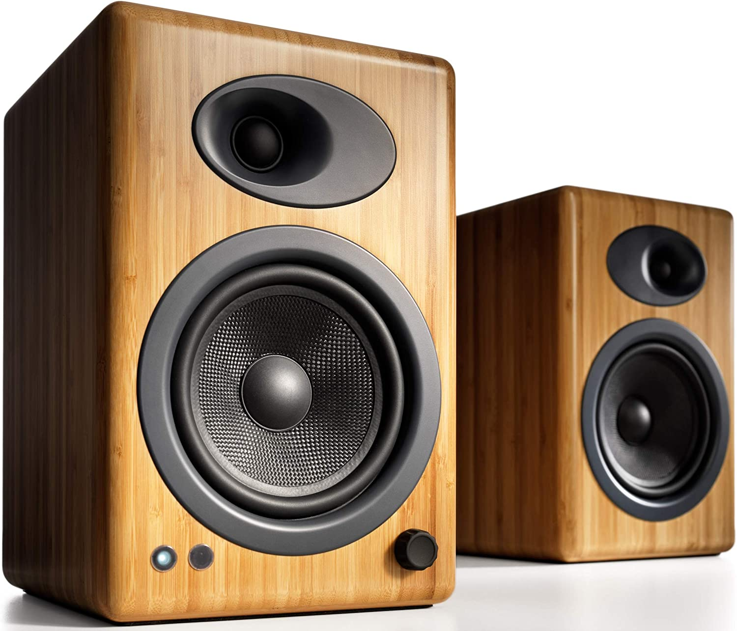 Audioengine A5+ (Plus) Powered Speaker | Desktop Monitor Speakers Computer Sound System | 150W Premium Powered Bookshelf Stereo Speakers Pair, AUX Audio, RCA Inputs/Outputs, Remote Control (Bamboo)