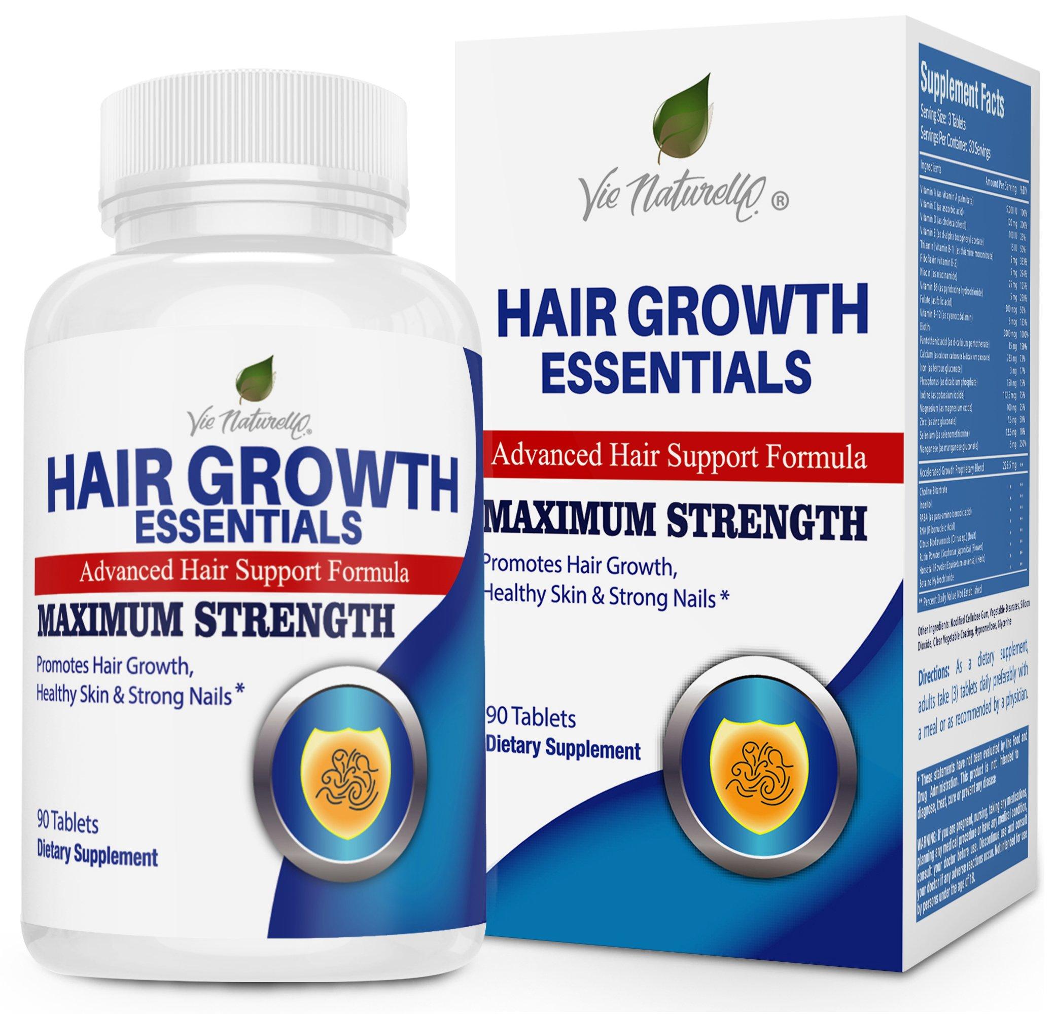 Hair Growth Essentials Pills Supplement - 29 Hair Regrowth Nutrients - Hair Loss Vitamins for Women & Men