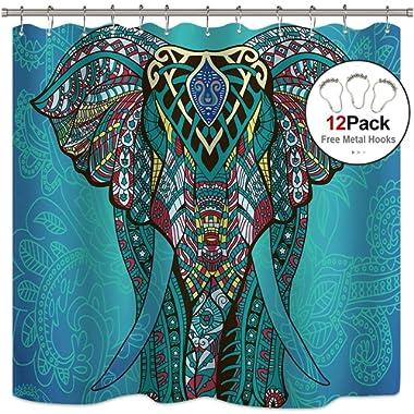 Riyidecor Mandala Elephant Shower Curtain Set 12 Pack Free Metal Hooks Art Asian Oriental Motifs Blue Animal Multiple Colors Waterproof Fabric Bathroom Bathtub Home Decor Panel 72x72 Inch
