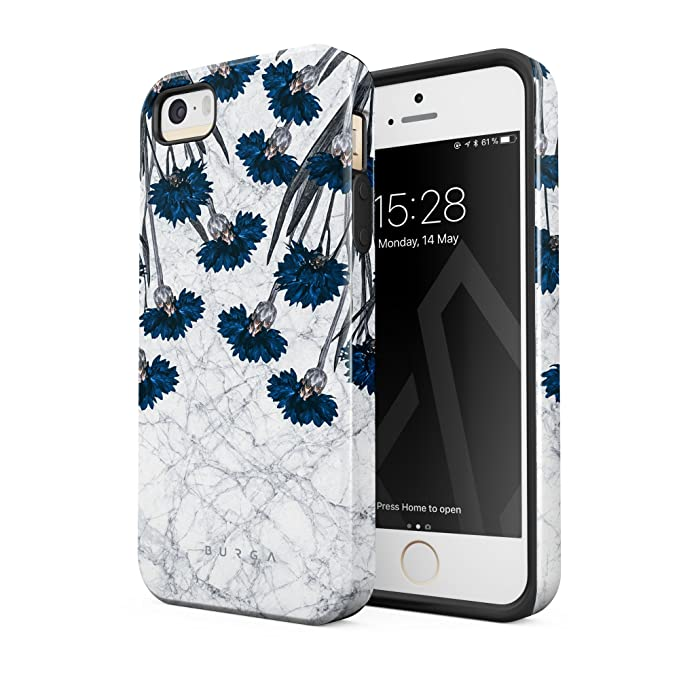 amazon com burga compatible with iphone 5 iphone 5s iphone se caseburga compatible with iphone 5 iphone 5s iphone se case blue cornflower white marble floral print