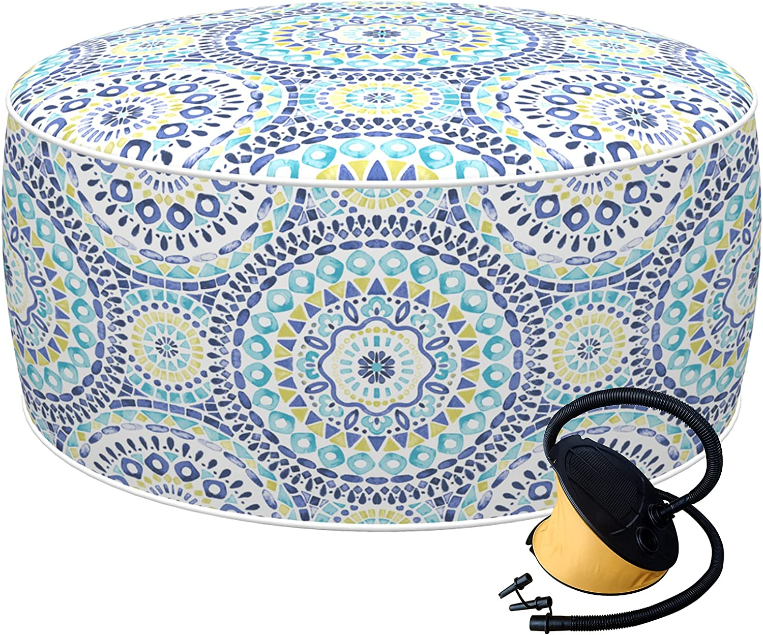 LVTXIII Inflatable Stool Ottoman Footrest with Handle and Air Pump, All Weather Foot Rest for Kids or Adults, Indoor or Outdoor Use for Home Patio Garden and Camping, D21 x H9 , Delancey Lagoon