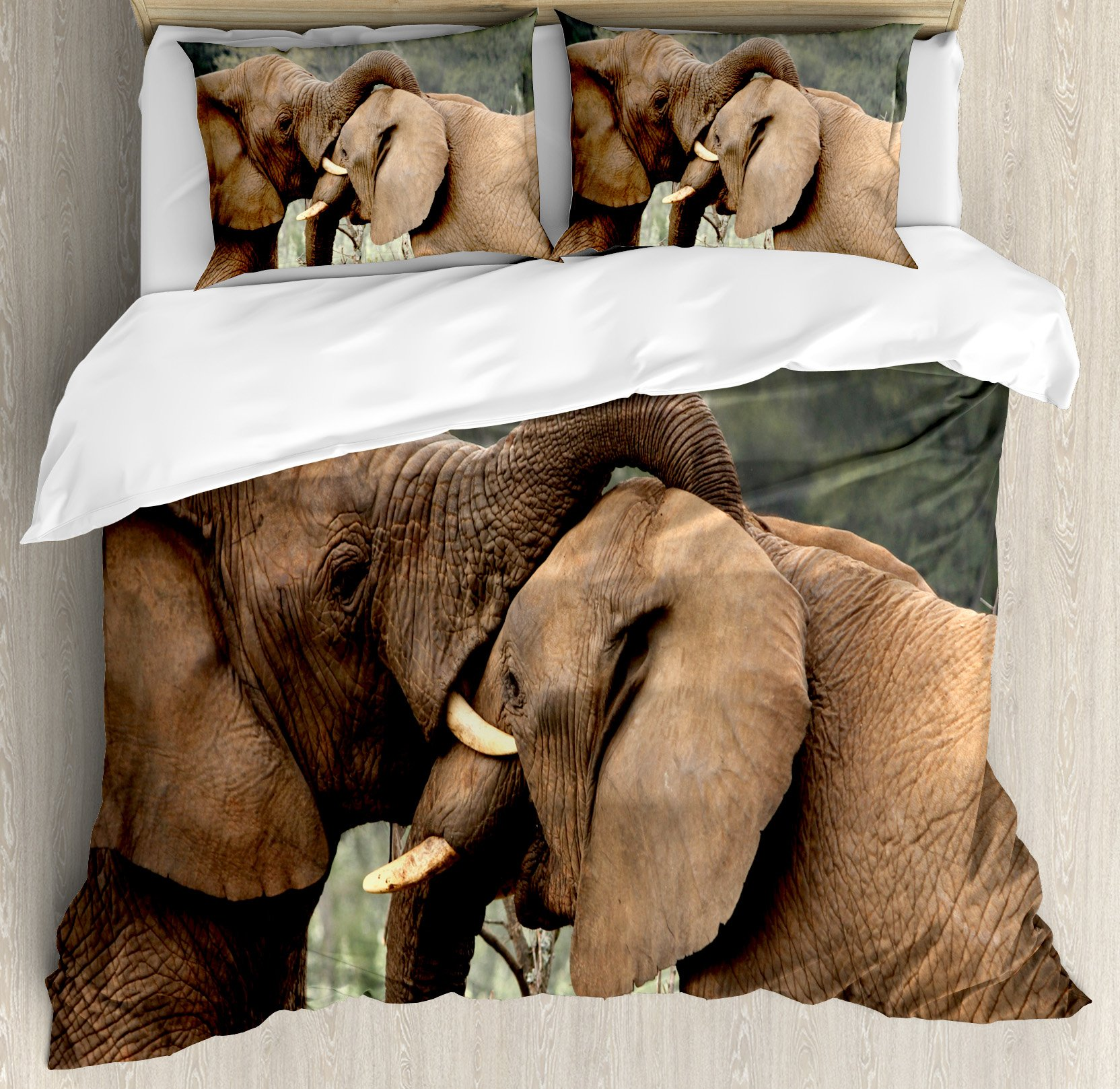 Safari Decor Duvet Cover Set by Ambesonne, Two Wild Savanna Elephants Wrestling Cute Nature Icons South African Animals Game Photo, 3 Piece Bedding Set with Pillow Shams, Queen / Full, Brown Green