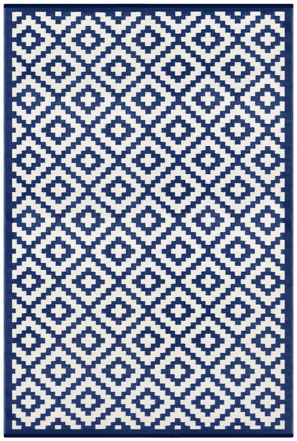 Grün Decore Nirvana für Innen und Außen   Federleicht   Wendbarer Ökoteppich (180 x 270 cm, Marine-Blau \ Weiß)