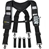 MELOTOUGH Magnetic Suspenders Tool Belt Suspenders with Large Moveable Phone Holder , Pencil Holder , Adjustable Size Padded