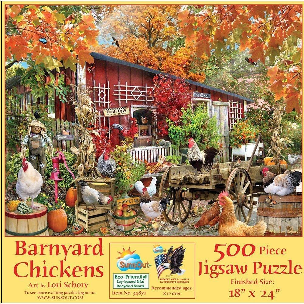 amazon com barnyard chickens 500 pc jigsaw puzzle toys u0026 games
