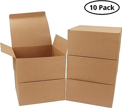 Pack de 10 Cajas kraft Marrón - Cajas Regalo Carton Tamaño 20x20x10cm Cajas Regalos con Tapa para Magdalenas, Manualidades, Damas de Honor Cajas Marrones: Amazon.es ...