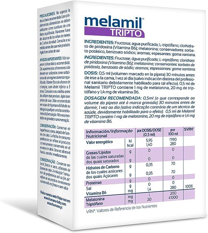 MELAMIL® Tripto de Humana - Complemento Alimenticio a base de melatonina, triptófano y vitamina B6, que ayuda a conciliar el Sueño; 30ml: Amazon.es: Salud y cuidado personal