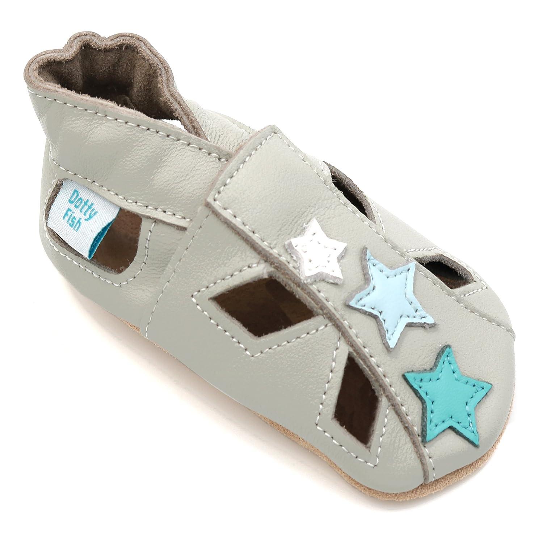 Dotty Fish - Zapatos de Cuero Suave para Bebés - Sandalias para Niños y Niñas - Recién Nacidos a 3-4 Años