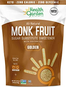 Health Garden Monk Fruit Sweetener, Golden- Non GMO - Gluten Free - 1:1 Sugar Substitute - Kosher - Keto Friendly (4.75 Lb)