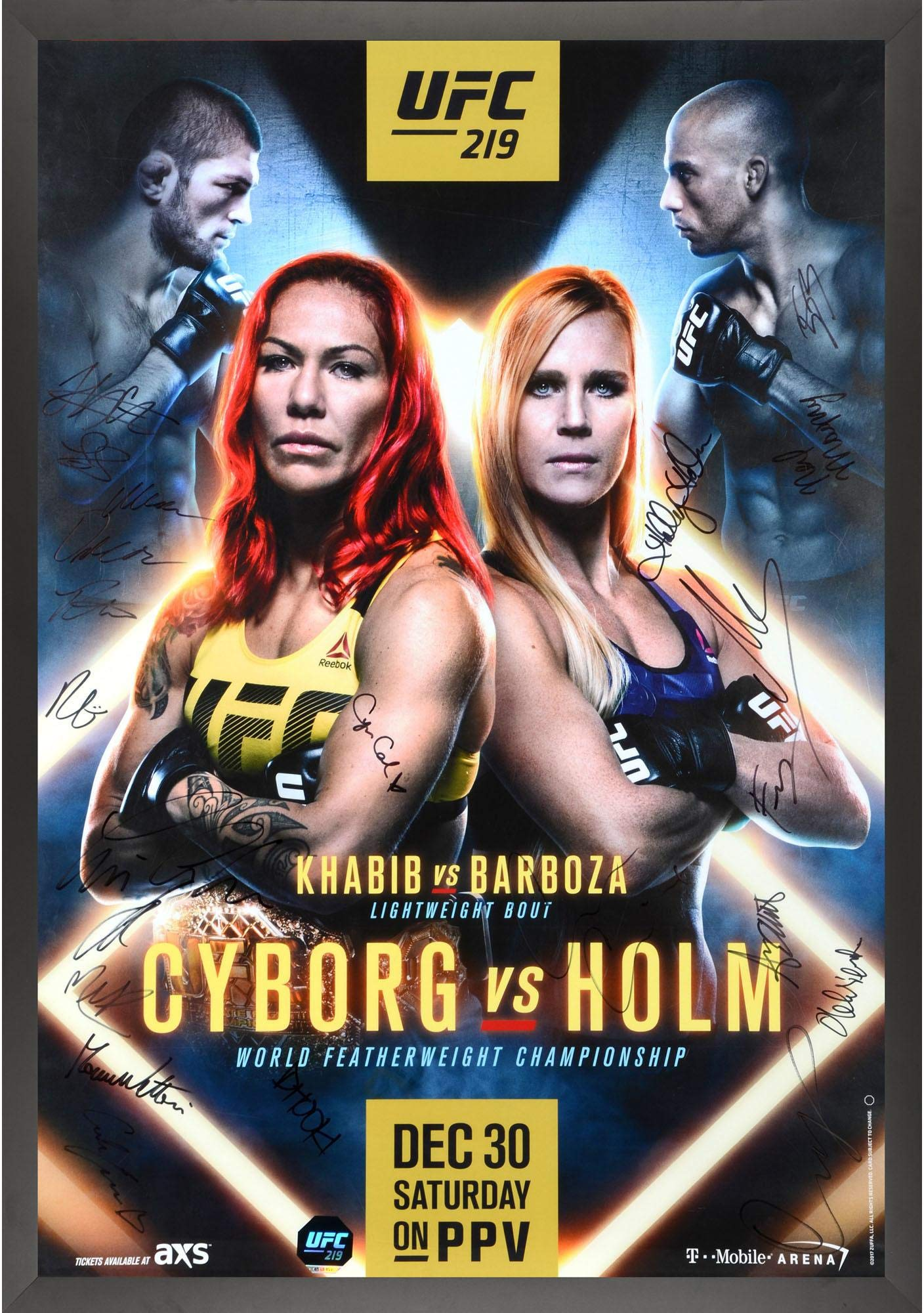 """UFC 219 Cyborg vs. Holm Framed Autographed 27"""" x 39"""" 20 Signature Fight Poster Fanatics Authentic Certified"""