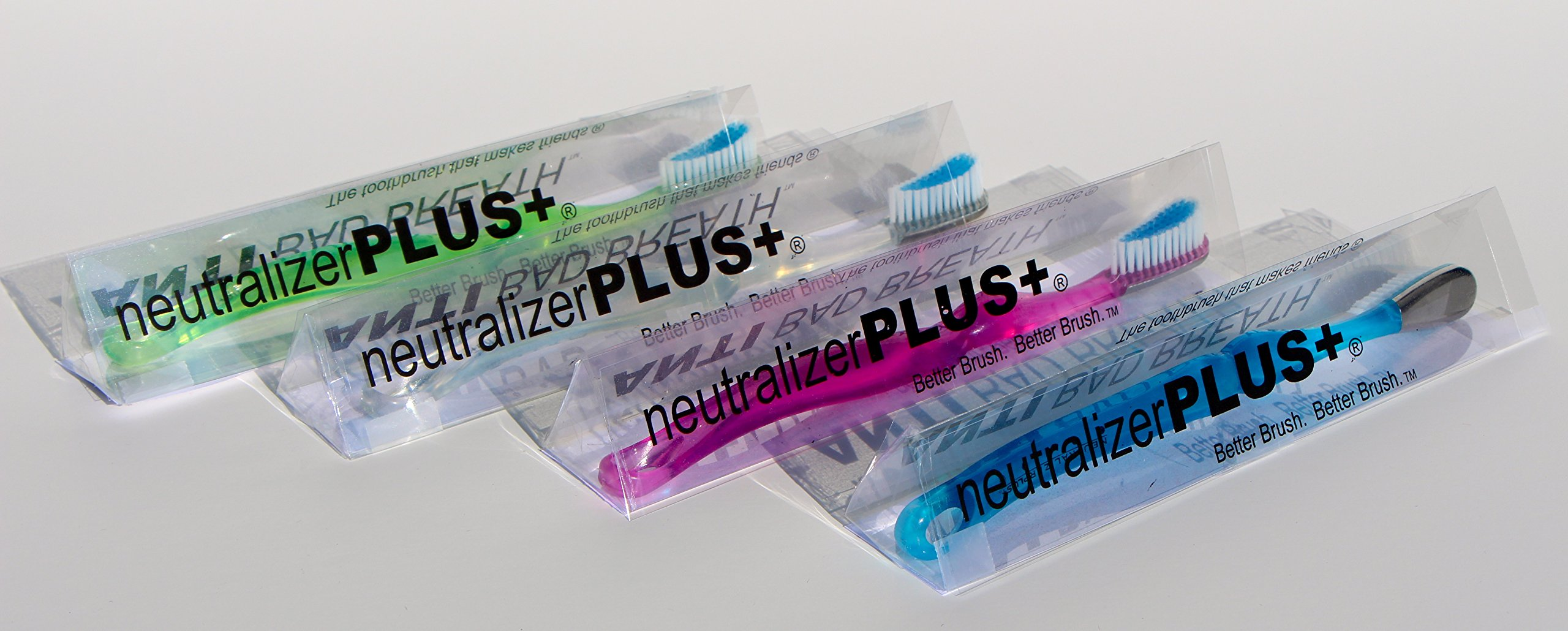 neutralizerPLUS+ Anti Bad Breath Toothbrush Patented by a Dentist - The ONLY Toothbrush to use Natural Chemistry and a Scientific Alloy every time you brush to neutralize bad breath odors - design includes tongue scraper - daily use reduces bad breath odo