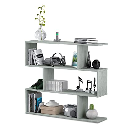 Habitdesign 301010L - Estantería Salon Comedor Athena, libreria Oficina Color Cemento, Medidas: 110 x 97 x 25 cm de Fondo