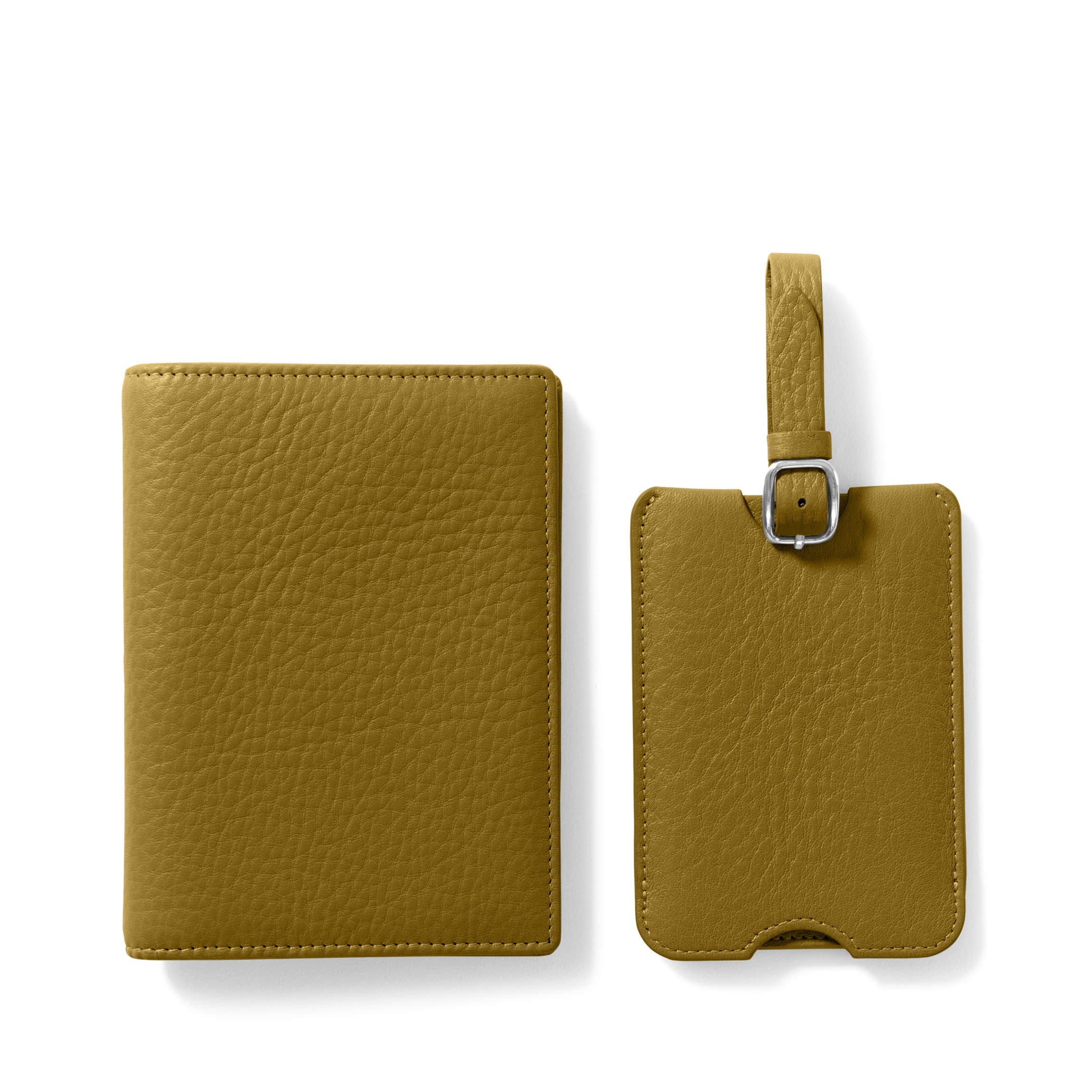 Deluxe Passport Cover + Luggage Tag Set - Full Grain Leather Leather - Chartreuse (Green)