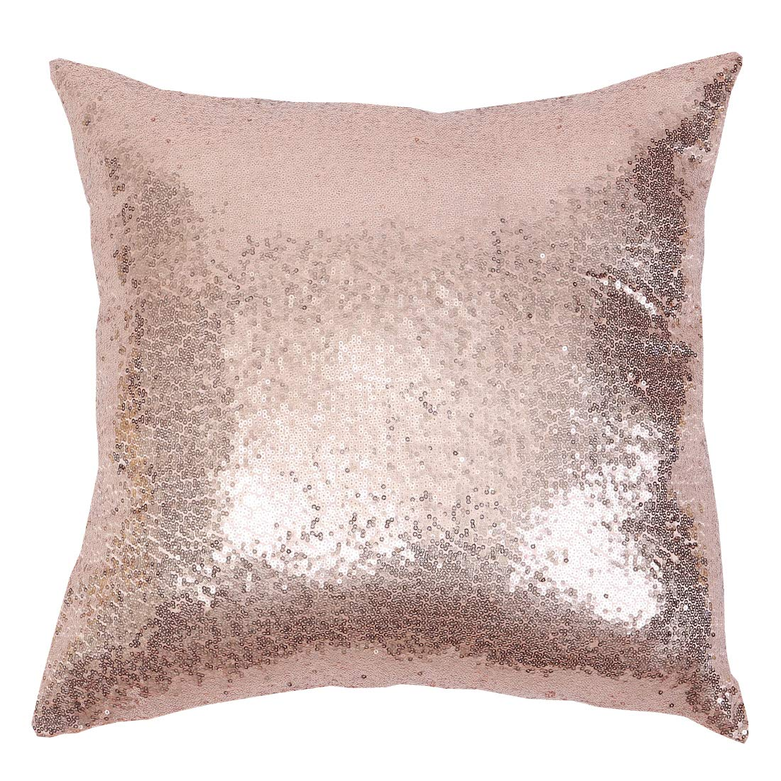 Poise3EHome 18x18inches Sequin Pillow Covers Satin Decorative Pillowcases for Throw Pillows, Couch, Bed, Outdoor, Christmas (Rose Gold, 2PCS)